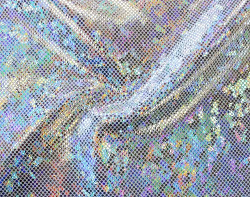 Shattered Glass Hologram 4-Way Stretch Fabric - Silver