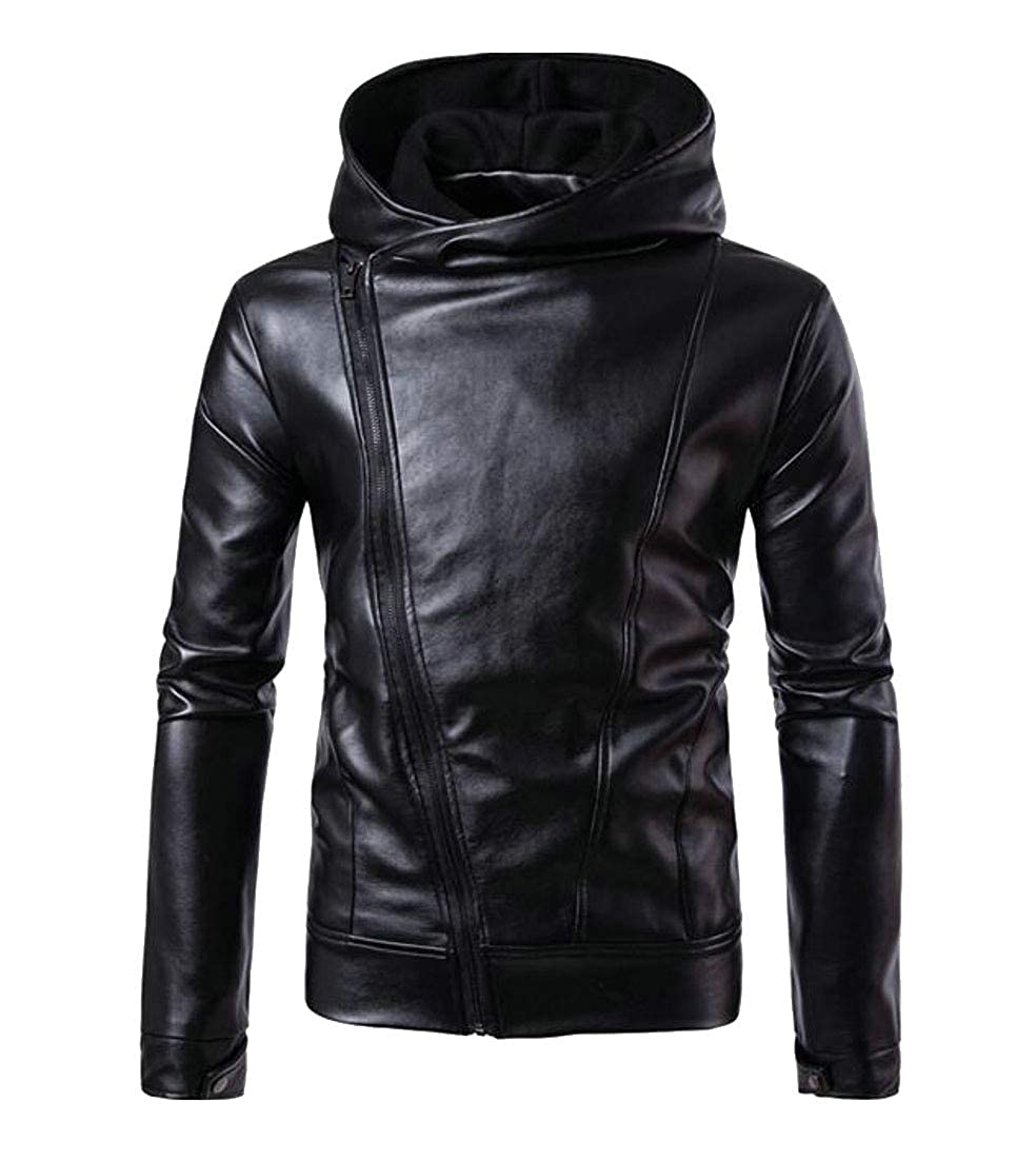 Joe Wenko Mens Oblique Zipper Faux Leather Sport Hoodie Coat Basic Jacket