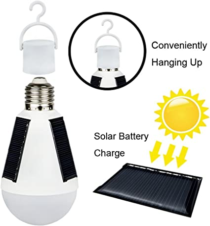 Portable 7W Solar Power LED Light Bulb Indoor Outdoor Tent Camping Hanging Lamp