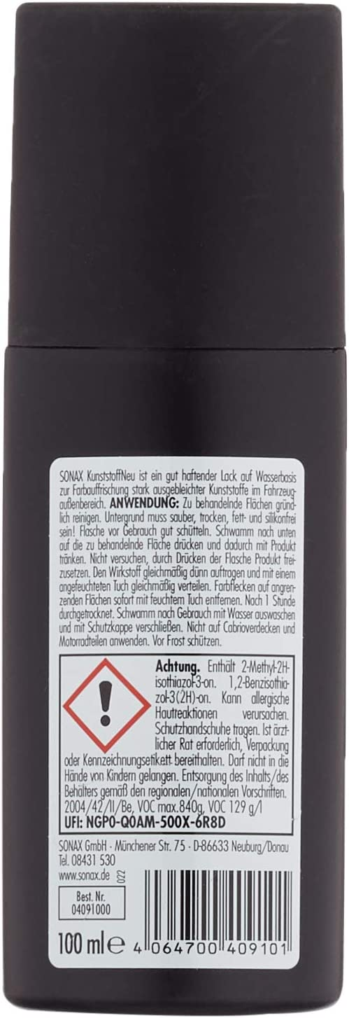 SONAX 04091000-544 Renovador plásticos (100 ml), con esponja aplicadora