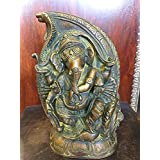 Ganesha Statue Dancing Ganesh In Conch Handmade Brass Sculpture From India