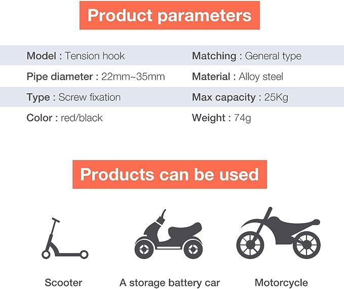 Accesorios de Bicicleta Rojo Rojo Charminer Kit de Montaje de Ganchos de Metal Adecuado Estante para Xiaomi Scooter El/éctrico