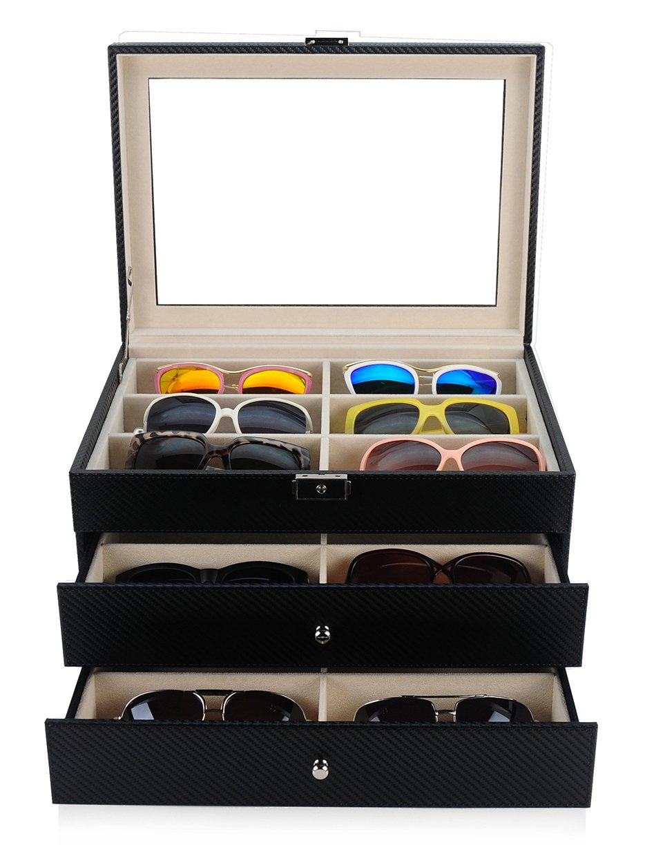 18 Piece Large Black Carbon Fiber Eyeglass Sunglass Three Level Glasses Display Case with Drawer