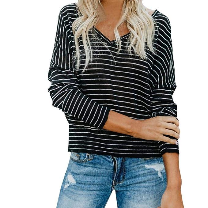 Oliviavan,Frauen Plus Size Streifen Print Langarm Shirt V