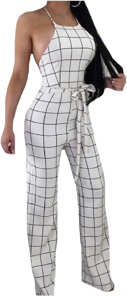 Mirrliy Womens Sleeveless Straight Trousers Hi-Waist Backless Plaid Pattern Jumpsuits