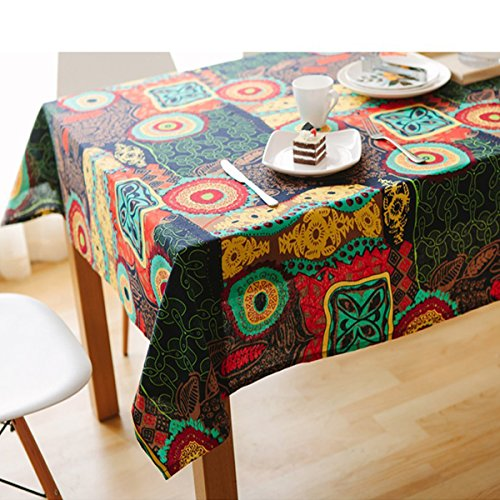 Bringsine Washable Square Cotton Linen Colorful Flower Print Tablecloth, Vintage Dinner Picnic Table Cloth Home Decoration Assorted Size