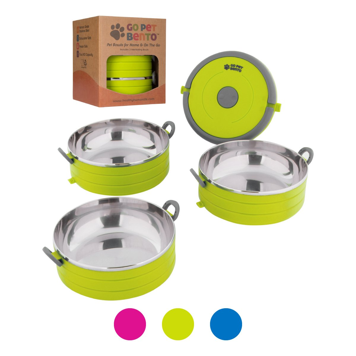 Healthy Human Portable Dog & Pet Travel Bowls with Lid - Human Grade Stainless Steel - Ideal for Food & Water - Green - 3 Bowl Set