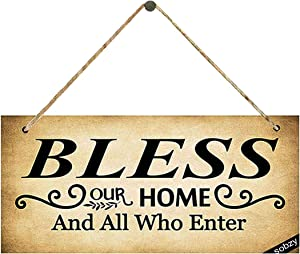 Bless Our Home Sign, Religious Hanging Plaque,Farmhouse Rustic Wall Art Kitchen Sign Home Decor Wood Sign Gift
