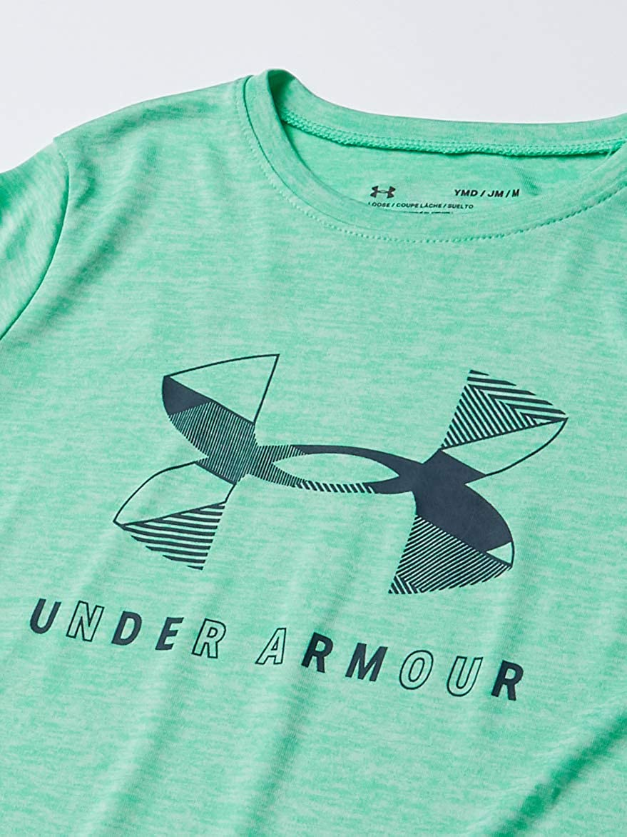 Under Armour Girls' Big Logo Twist Short Sleeve Training Workout T-Shirt: Clothing