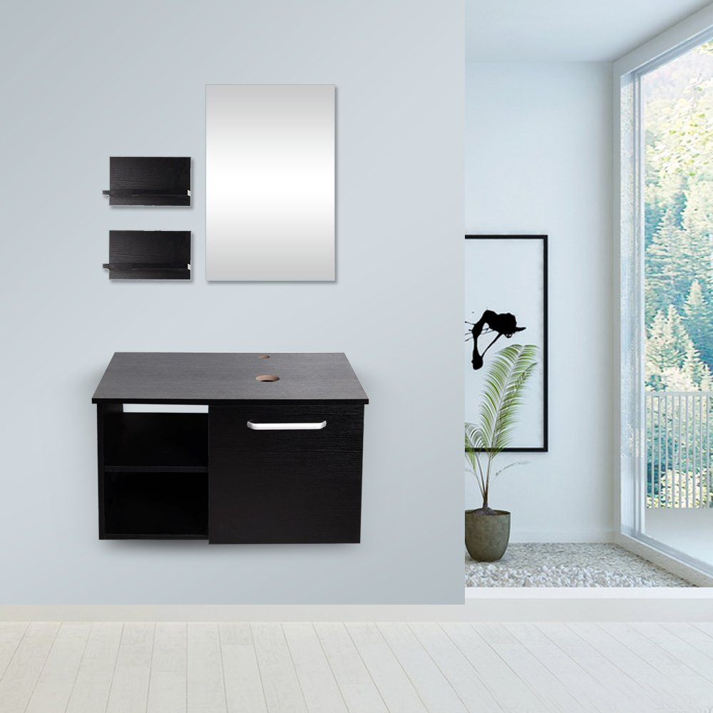 Yourlite 28'' Modern Bathroom Vanity, Wall Mounted Cabinet Lavatory Wood, Satin Nickel, Dark Espresso (Black) with Mirror