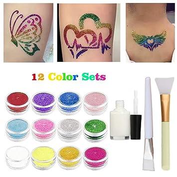 Amazon.com : Glitter Temporary Tattoos Makeup Kits, Glitter Body Art ...