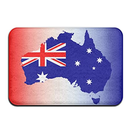 Australia Map With Flag.Amazon Com Australia Map Flag Welcome Mat Rug Front Door Bathroom