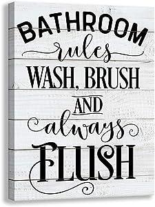 Vintage Bathroom Canvas Wall Art Sign | Woodgrain Background Printed Bathroom Rules Plaque Frame Family Bathroom Laundry Wall Decoration Mural (12 X 15 inch, Bathroom)