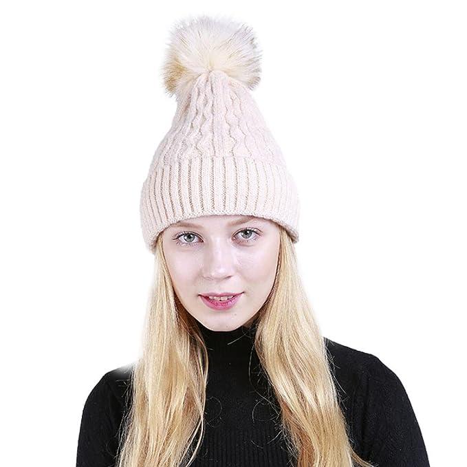 Damen Pom Pom Hut URSING Frauen Wintermütze Gemütlich Mütze Warm Hut ...