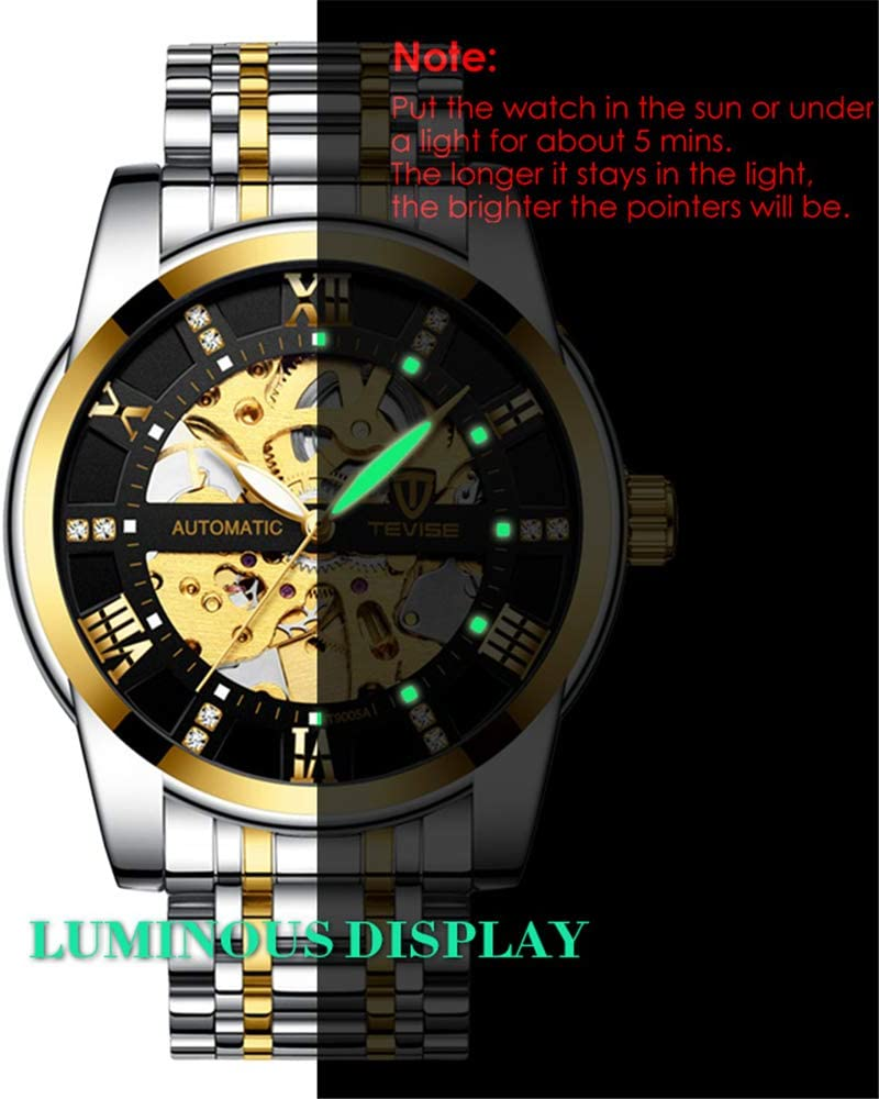 JJDB, Orologio da Polso da Uomo, Digitale, Automatico, con Carica Automatica, Orologio Meccanico Automatico, Orologio da Uomo alla Moda F A