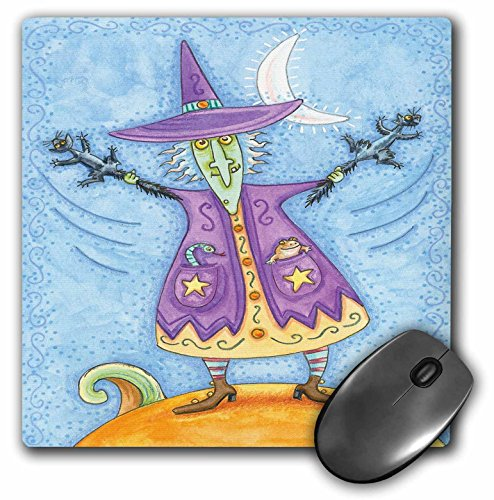 3dRose Anne Marie Baugh - Halloween - Halloween Witch with Screeching Cat in Each Hand Illustration - Mousepad (mp_216762_1)]()