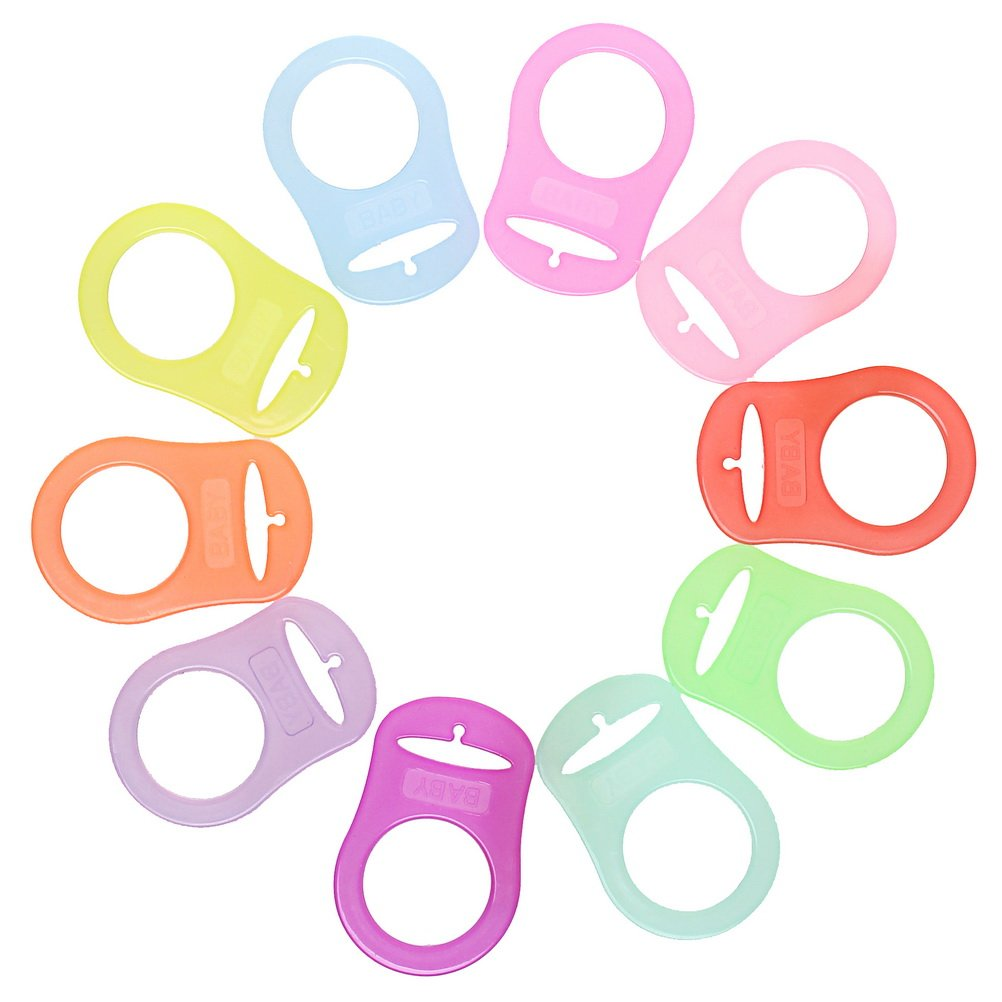 ofoen 10 Pieces Silicone Button Ring Dummy, Multicolor Silicone Button Holder Clip Adapter for MAM Ring Dummy Pacifier