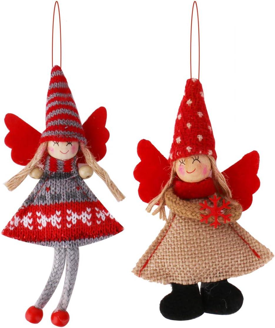Vesil Red Angel Dolls Christmas Tree Hanging Ornaments, 2 pcs