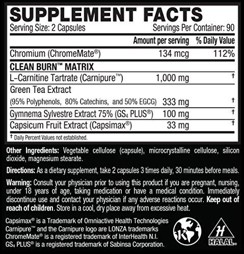 CLEAN BURN Stimulant Free Fat Burner, Weight Loss Supplement & Appetite Suppressant for Men & Women, 180 Veggie Diet Pills