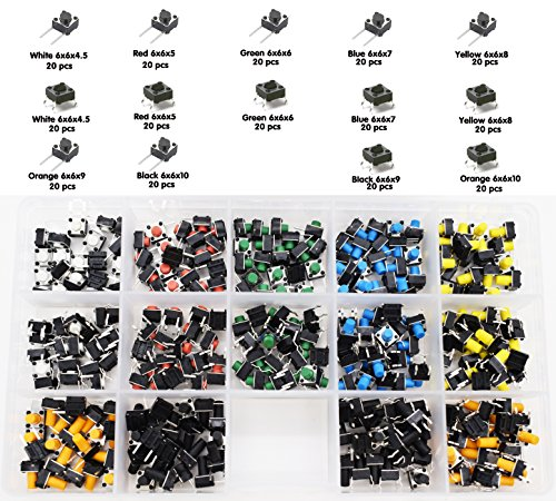 tactile switch 280pcs 14Value 7 Colors Panel PCB Momentary Tactile Tact Push Button Switch 4 Pin DIP and 2 Pin Dip, Kaifa