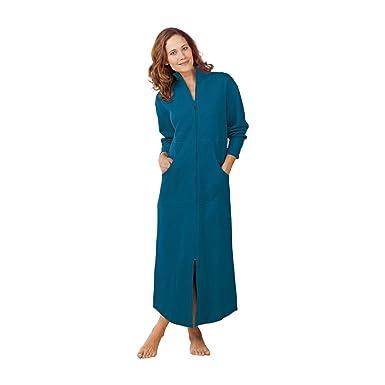 19015b6d5244 Norm Thompson Women s Petite Zip-Front Sweatshirt Robe - P-L Teal at ...