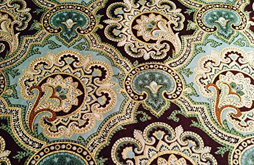 Turquoise Teal Blue Green Gold Paisley Cotton Window Curtain Valance handmade 42W x 15L Fabric