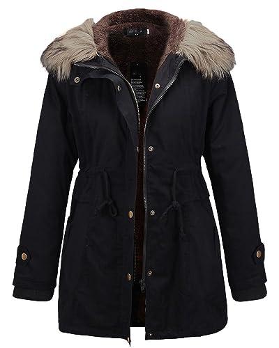 Abrigo Chaqueta de Mujer Cálido Drawstring Parka con Capucha Invierno