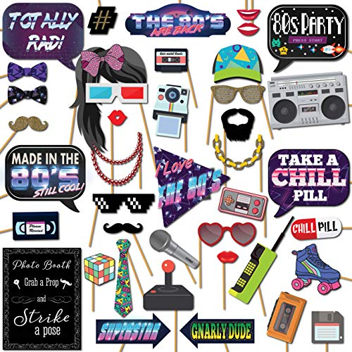 1980s Throwback 80s Party Theme Photo Booth Props Decorations, 41 Pieces with Wooden Sticks and Strike a Pose Sign by Outside The Booth]()