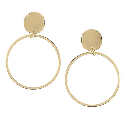 658f312ba111 Happiness Boutique Damas Pendientes de Aro con Círculo en Color Oro ...