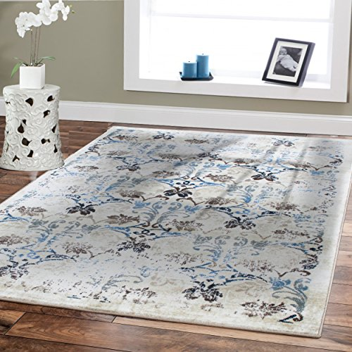Premium Soft 8x11 Luxury Modern Rugs For Dining Rooms Cream Rugs Blue Beige Brown Ivory Floral Rugs Fashion 8x10 For Bedroom Rugs Dining Room Rug Contemporary Rugs