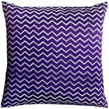 "76x76 cm Decorative Cushion Cover Floor Pillow Case Purple Polyester Silk Chevron Block Print 30x30"" Square CUSHION COVER ONLY, Insert Not Included by Saffron"