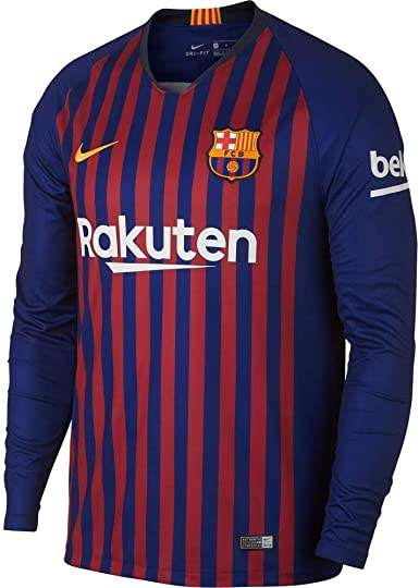tema engranaje flexible  Amazon.com : Nike FC Barcelona Stadium Home Men's Long Sleeve Soccer Jersey  2018/19 : Clothing