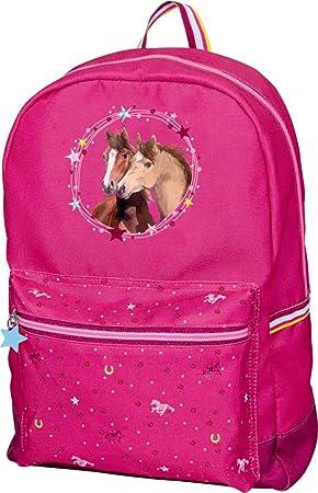 Mochila Infantil Color Rosa Amigos de los Caballos con Motivos de Brillantina y Bordados 24x36x12cm: Amazon.es: Equipaje