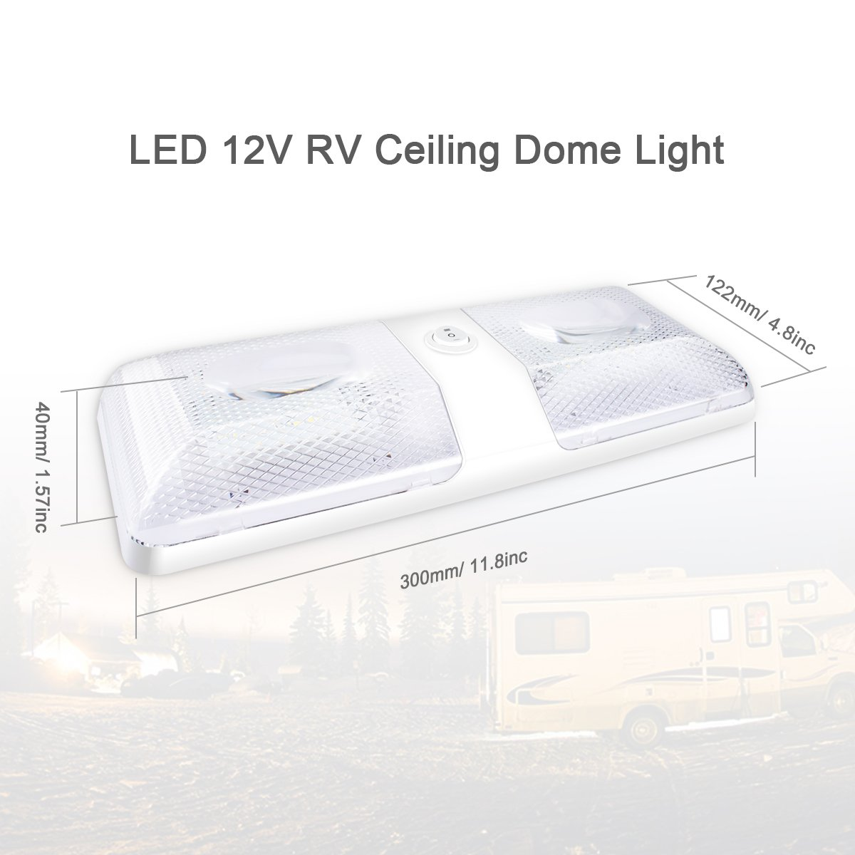 Morpilot 2Pack RV Double Ceiling Dome Light Fixture Replacement Interior Lighting 12V 500LM 48LEDs with Switch for RVs Camper Motorhomes Trailer, Natural White 4000-4500K