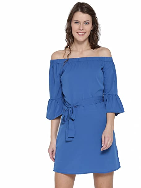 834f7c47c32c Sera Blue Solid A-line Mini Bell Sleeve Off-Shoulder Dress For Women  Western Wear  Amazon.in  Clothing   Accessories