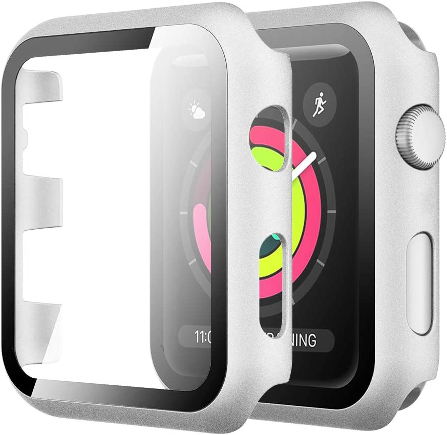 Simpeak Case with Glass Screen Protector Compatible with Apple Watch 38mm Series 1 2 3, Full Coverage Slim Hard Case Cover Built-In Tempered Glass Screen Protector Replacement for iWatch 38 mm, Silver