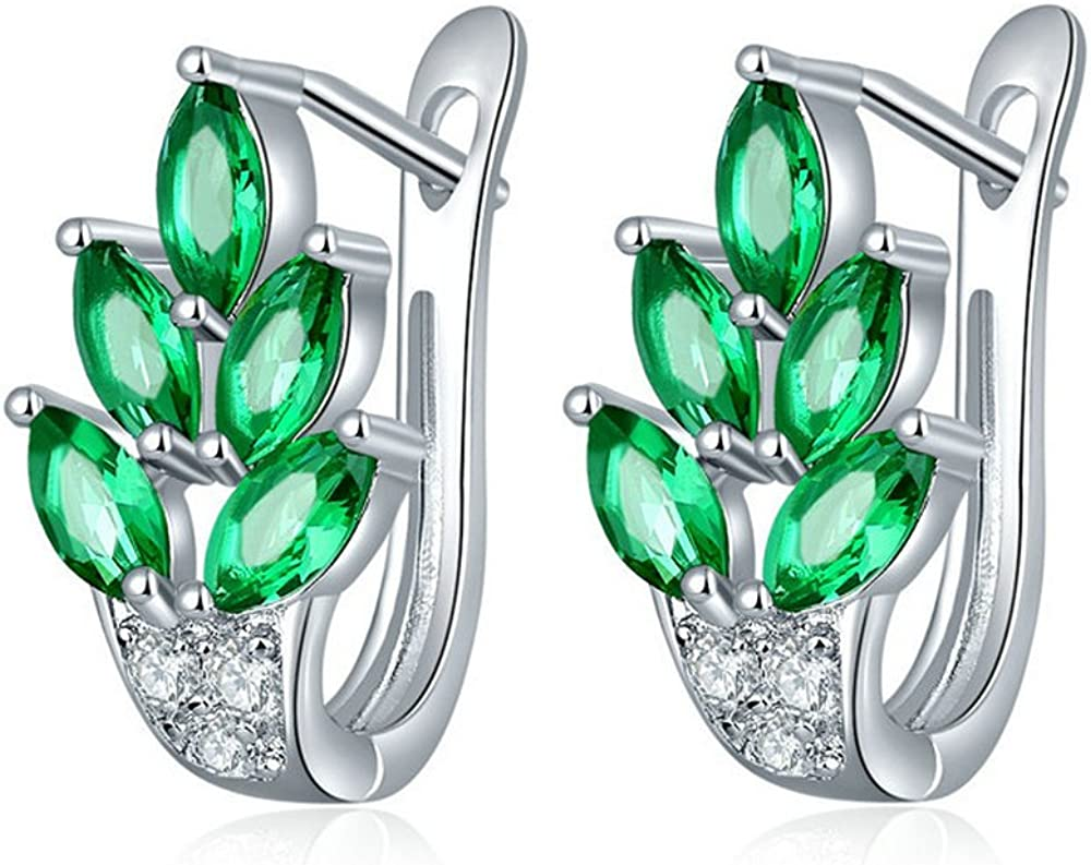 Uloveido Womne's Platinum Plated Marquise Cut Cubic Zirconia Tree Leaf Pendientes U-Hoop Ear Jewelry Y337