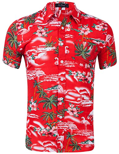 XI PENG Men's Tropical Short Sleeve Floral Print Beach Aloha Hawaiian Shirt (Pink Flamingo Hibiscus Red, Medium)