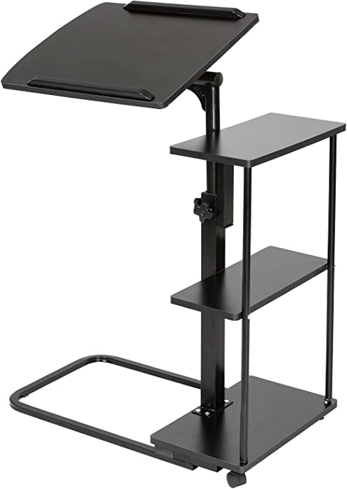 DOEWORKS Laptop Desk Height Adjustable Tray Side Table for Bed or Sofa, Black Overbed Table with Wheels