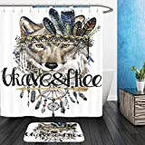 Vanfan Bathroom 2 Suits 1 Shower Curtains & 1 Floor Mats wolf american indian chief headdress war bonnet dream catcher background native american poster 597755801 From Bath room