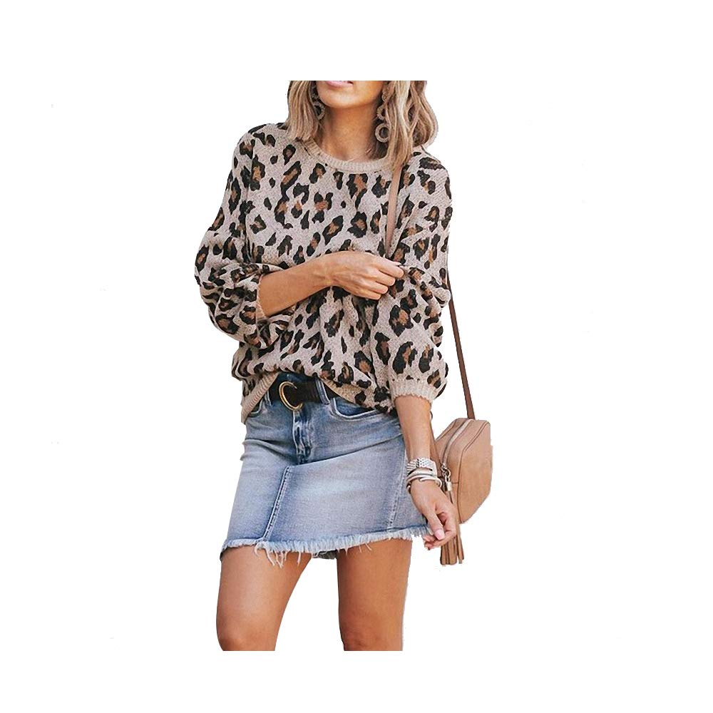 Hirate Womens Leopard Sweater Knit Puff Long Sleeve Crewneck Cheetah Print Pullover Loose Fit