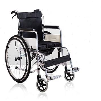 Wefun plegable Silla de ruedas de aluminio ligero plegable silla de ruedas con freno de mano (Neumáticos de goma maciza): Amazon.es: Salud y cuidado ...