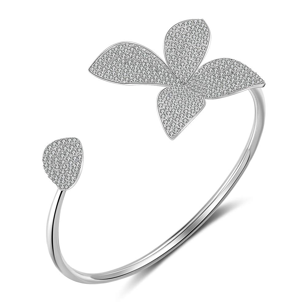 dnswez Flower Open Cuff Bracelet Bangle Silver Plate CZ Cubic Zircoina Pave Setting Adjustable Bracelets for Women Girl /…