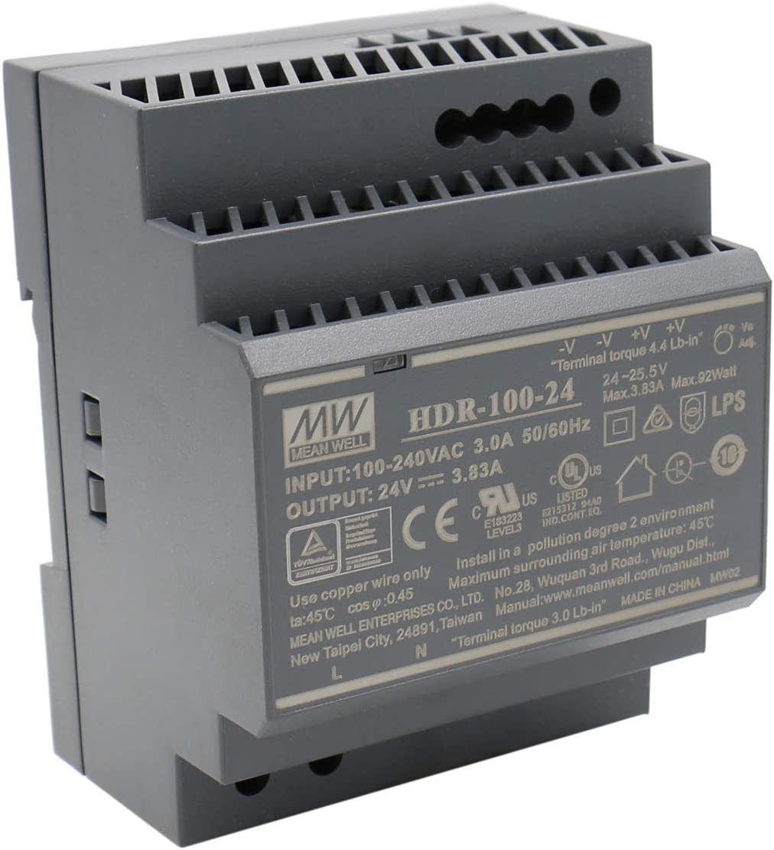 Mean Well HDR-100-24 AC-DC Ultra Slim DIN Rail Fuente de alimentación, CV