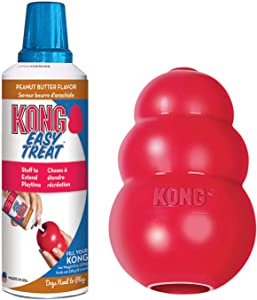 KONG - Classic Dog Toys with Easy Treat Peanut Butter Dog Treats, 8 Ounce - for Large Dogs