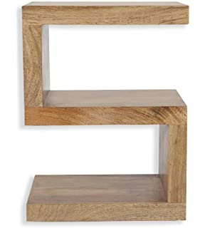 Cube Mango Wood S Shaped Display Unit / End Table / Solid Mango Wood Unit / Part 90