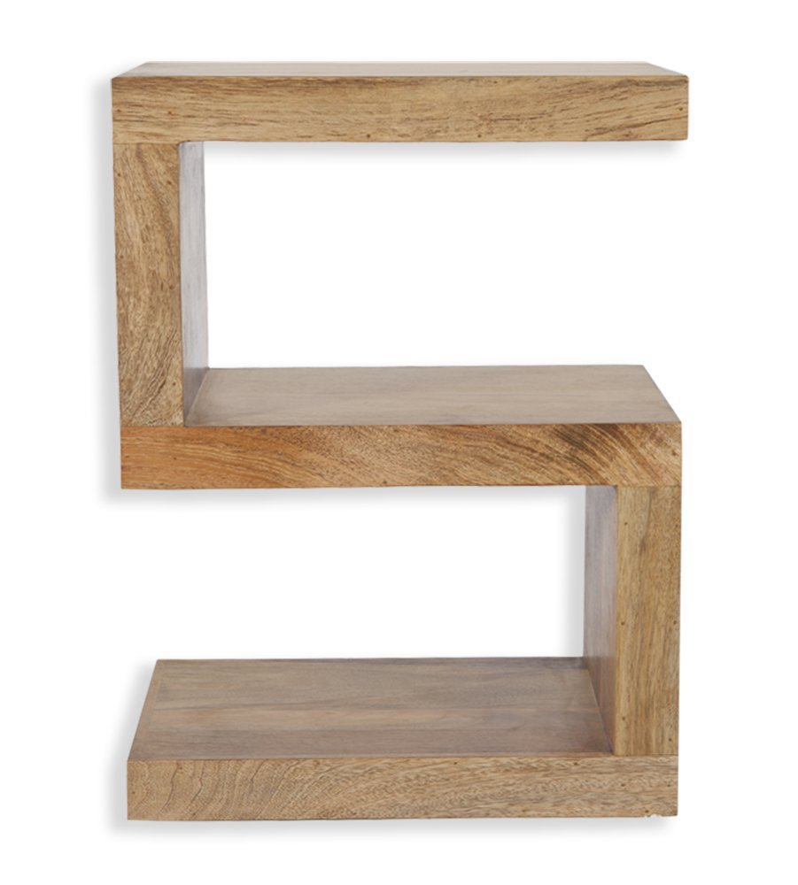 Cube Mango Wood S Shaped Display Unit/End Table/Solid Mango Wood Unit/Side Table/Modern Living Room Furniture