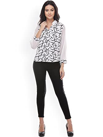 8f8e9396b OSLC Women's Shirt Tops for Women Girls Ladies Latest Stylish Designer  Partywear Western Collection (White, X-Large): Amazon.in: Clothing &  Accessories