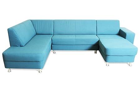 Sofa Couch Ada Alina Wohnlandschaft 7422 Blau Amazon De Kuche