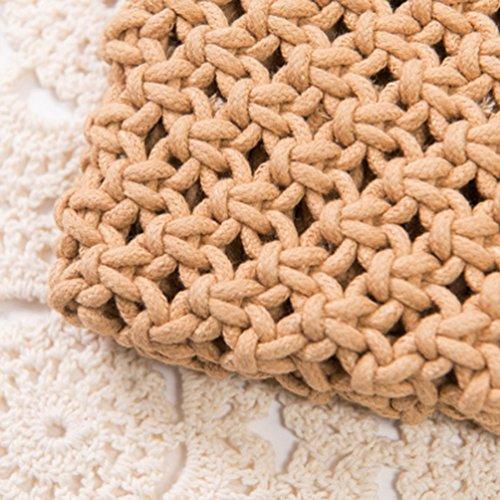 20cm YOUJIA 25 Sac Clutches Tissé Portefeuille Élégant Pochettes Bourse franges Blanc Sacs Femmes de Chameau Paille Rétro Plage à de TTwrUq